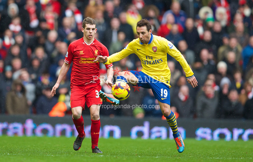 LIVERPOOL, ENGLAND - Saturday, February 8, 2014: Arsenal's Santi Cazorla in action against Liverpool's Jon Flanagan during the Premiership match at Anfield. (Pic by David Rawcliffe/Propaganda)