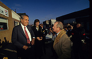 Hugh Sidey and Bob Dole in Russell Kansas in November 1987..Photograph by Dennis Brack