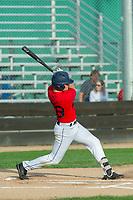 KELOWNA, BC - JULY 17:  Austen Butler #28 of the Kelowna Falcons swings at home plate against the Wenatchee Applesox at Elks Stadium on July 17, 2019 in Kelowna, Canada. (Photo by Marissa Baecker/Shoot the Breeze)