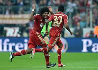 FUSSBALL   1. BUNDESLIGA  SAISON 2012/2013   2. Spieltag FC Bayern Muenchen - VfB Stuttgart      02.09.2012 Jubel nach dem Tor Dante und Luiz Gustavo (v. li., FC Bayern Muenchen)