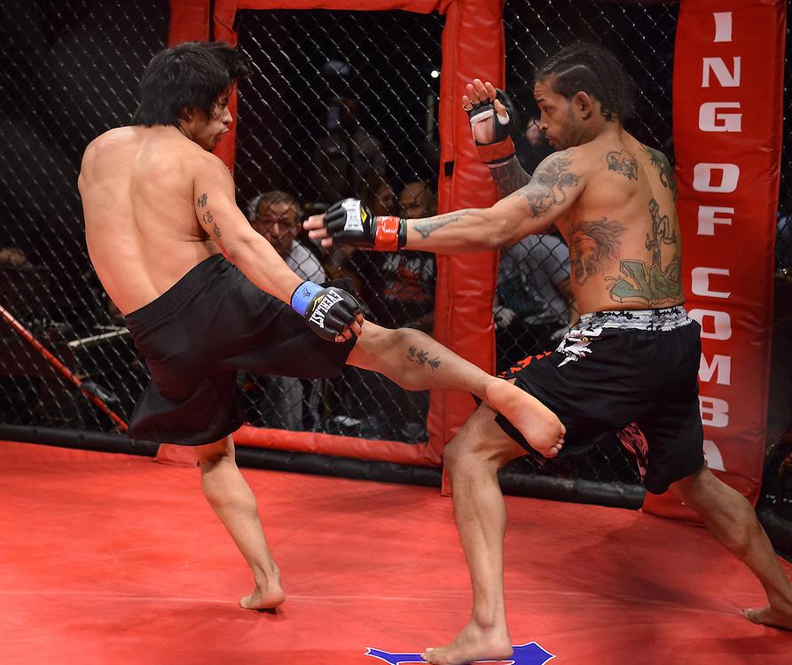 Atlantic City, New Jersey, January 24, 2014: Leodegario Muniz(left) Vs Jose Villanueva(right) at Ring of Combat 47 at The Tropicana Casino.