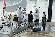 Django get ready to leave the dock at the Auckland Viaduct. ANZ Sail Fiji Race start. 7/5/2014