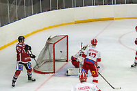 2020-01-19 | Umeå, Sweden:Teg score  6-1 by Teg (8) Anton Tano, Teg (27) Robin Johansson is watching in  AllEttan during the game  between Teg and Vallentuna at A3 Arena ( Photo by: Michael Lundström | Swe Press Photo )<br /> <br /> Keywords: Umeå, Hockey, AllEttan, A3 Arena, Teg, Vallentuna, mltv200119