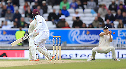 England's Alistair Cook (right) drops a catch off West Indies Jermaine Blackwood during day five of the the second Investec Test match at Headingley, Leeds.