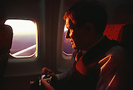 Photojournalist Jack Corn on a flight during the 1983 NPPA Flying Short Course.