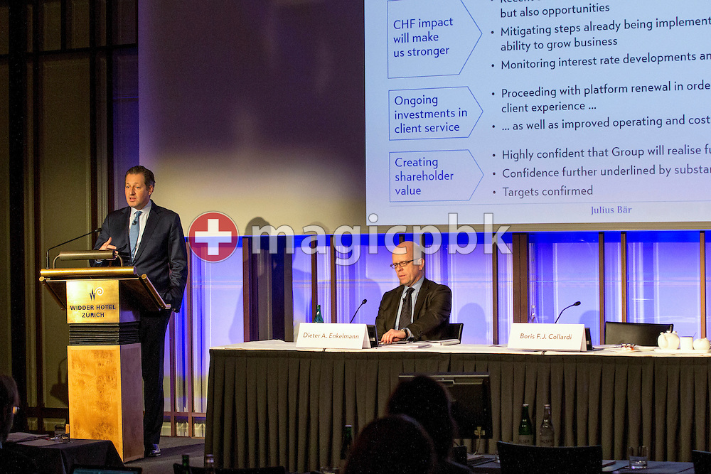 Boris F.J. Collardi (L), Chief Executive Officer (CEO), delivers a speech, while Dieter A. Enkelmann, Chief Financial Officer (CFO), looks on during a press conference on the fourth quarter and full-year results 2014 of Julius Baer Group Ltd. held at the Hotel Widder in Zuerich, Switzerland, on Monday, 2 February 2015. (Photo by Patrick B. Kraemer / MAGICPBK)