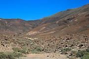 Volcanic mountains deep blue sky, Jandia peninsula, Fuerteventura, Canary Islands, Spain