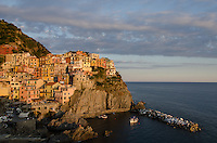 Veiw of Manarola at sunset.  Manarola is one of the Cinque Terre towns in Italy.