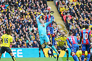 Crystal Palace's Damien Delaney goes up for the ball with Watford's goal keeper Costel Pantilimon during the The FA Cup match between Crystal Palace and Watford at Wembley Stadium, London, England on 24 April 2016. Photo by Shane Healey.