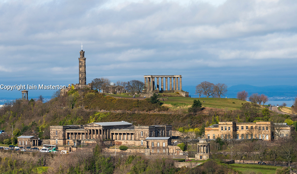 View of Calton Hill and the former Royal High School in Edinburgh, Scotland, UK