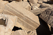 Fragments of sculpted stone with carved inscription. Palmyra, Syria. Ancient city in the desert that fell into disuse after the 16th century.