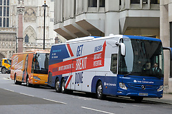 © Licensed to London News Pictures. 21/11/2019. London, UK. A Jo Swinson and Boris Johnson Battle Bus line up in Tothill Street Westminster as the General election campaigning continues across the country. Photo credit: Alex Lentati/LNP