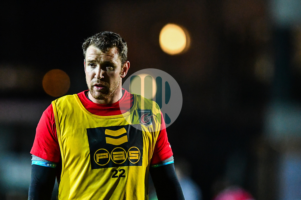 Dragons' Adam Warren during the pre match warm up<br /> <br /> Photographer Craig Thomas/Replay Images<br /> <br /> Guinness PRO14 Round 18 - Dragons v Cheetahs - Friday 23rd March 2018 - Rodney Parade - Newport<br /> <br /> World Copyright © Replay Images . All rights reserved. info@replayimages.co.uk - http://replayimages.co.uk