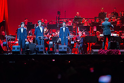 May 5, 2017 - Torin, Italy - From the Savoy city, with a sold out in great style, the new tour of ''The Night of Magic - Tribute to the Three Tenors'' (Luciano Pavarotti, Placido Domingo, José Carreras) of the Boys of Il Volo. In photo Gianluca Ginoble, Ignazio Boschetto, Piero Barone. (Credit Image: © Elena Aquila/Pacific Press via ZUMA Wire)