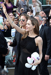 Angelina Jolie and Brad Pitt arriving for the premiere of World War Z , in  London, Sunday, 2nd June 2013<br /> Picture by:  Stephen Lock  / i-Images