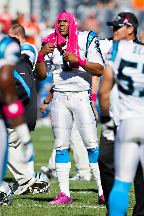CHICAGO, IL - OCTOBER 2:   Cam Newton #1 of the Carolina Panthers warms up before a game against the Chicago Bears at Soldier Field on October 2, 2011 in Chicago, Illinois.  The Bears defeated the Panthers 34 to 29.  (Photo by Wesley Hitt/Getty Images) *** Local Caption *** Cam Newton