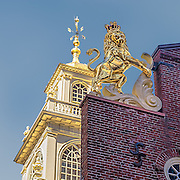 British lion figure atop the old state house. Originals were destroyed in 1776. Replaced in 1882 during renovation