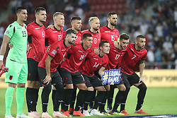 October 14, 2018 - Be'Er Sheva, Israel - Line-up of Albania team before the UEFA Nations League C group 1 match between Israel and Albania at Turner Stadium in Be'er Sheva, Israel, on 14 October 2018. Israel won 2-0. (Credit Image: © Ahmad Mora/NurPhoto via ZUMA Press)