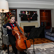 Cellist Alice Sophie  performs at Rochay High Society Soiree with Jovoy at Westbury Mayfair grafton suite on 21 November 2019, London, UK.