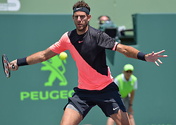 March 30, 2018 - Miami, FL, United States - KEY BISCAYNE, FL - MARCH 30: Juan Martin Del Potro (ARG)in action here, loses 16 67(2) to John Isner (USA) during day 12 of the 2018 Miami Open held at the Crandon Park Tennis Center on March 29, 2018 in Key Biscayne, Florida. (Credit Image: © Andrew Patron via ZUMA Wire)
