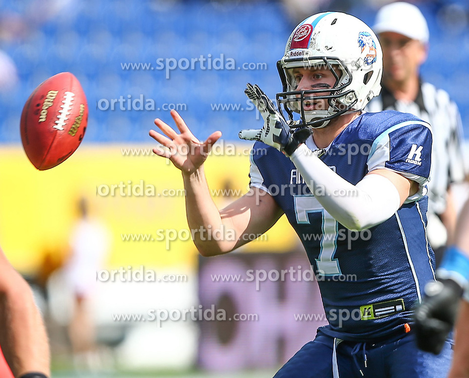 01.06.2014, NV Arena, St. Poelten, AUT, American Football Europameisterschaft 2014, Gruppe A, Finnland (FIN) vs Schweden (SWE), im Bild Miro Kadmiry, (Team Finland, QB, #7) // during the American Football European Championship 2014 group A game between Finland and Sweden at the NV Arena, St. Poelten, Austria on 2014/06/01. EXPA Pictures © 2014, PhotoCredit: EXPA/ Thomas Haumer