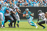 Sunday, October 6, 2019; Charlotte, N.C., USA;  Carolina Panthers running back Christian McCaffrey (22) runs with the ball during an NFL game against the Jacksonville Jaguars at Bank of America Stadium. The Carolina Panthers beat the Jacksonville Jaguars 34-27. (Brian Villanueva/Image of Sport)