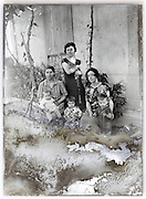 eroding vintage glass plate with mothers and their young children