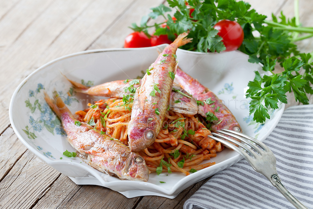 Plate of spaghetti with red mullet sauce, traditional plate of the Italian cuisine.