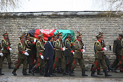 61197474<br /> Members of the Afghan honor guards carry the coffin of Afghan Vice President Marshal Mohammad Qasim Fahim, during his funeral ceremony at the Presidential Palace in Kabul, Afghanistan on March 11, 2014. The state funeral service for Afghan First Vice President Marshal Mohammad Qasim Fahim was held amid tight security in the Presidential Palace on Tuesday, 11th March 2014. Picture by  imago / i-Images<br /> UK ONLY