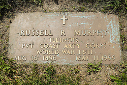 31 August 2017:   Veterans graves in Park Hill Cemetery in eastern McLean County.<br /> <br /> Russell R Murphy  Illinois  Private  Coast Arty Corps  Aug 16 1896  May 11 1966