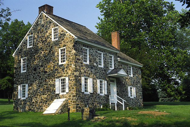 General George Washington's Headquarters; Revolutionary War; field stone farmhouse; Brandywine Battlefield State Park; Chadds Ford; PA; Pennsylvania; spring