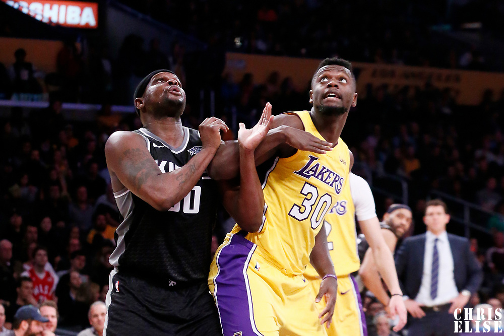 09 January 2018: Sacramento Kings forward Zach Randolph (50) vies for the rebound with Los Angeles Lakers forward Julius Randle (30) during the LA Lakers 99-86 victory over the Sacramento Kings, at the Staples Center, Los Angeles, California, USA.