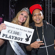 NLD/Amsterdam/20140201 - Uitverkiezing Playmate of the Year 2013, winnares Hester Winkel en DJ Chuckie