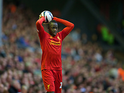 LIVERPOOL, ENGLAND - Tuesday, August 27, 2013: Liverpool's Aly Cissokho in action against Notts County during the Football League Cup 2nd Round match at Anfield. (Pic by David Rawcliffe/Propaganda)