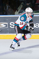 KELOWNA, CANADA - JANUARY 2:  Cody Fowlie #18 of the Kelowna Rockets skates on the ice against the Victoria Royals at the Kelowna Rockets on January 2, 2013 at Prospera Place in Kelowna, British Columbia, Canada (Photo by Marissa Baecker/Shoot the Breeze) *** Local Caption ***