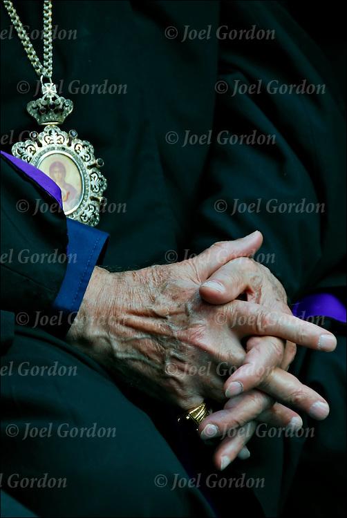 Close up of hands of an elderly Armenian priest