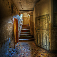 An abandoned palace in East Germany with stairway