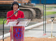 Rosemary McGowan comments during a groundbreaking ceremony at Barbara Jordan Career Center, May 9, 2017.