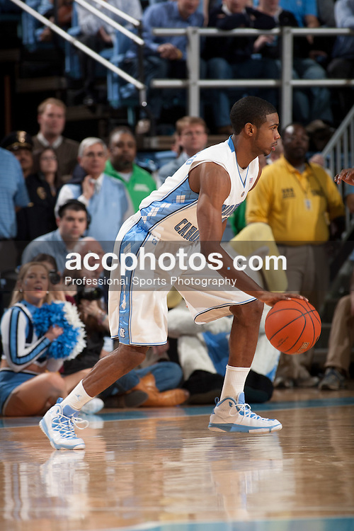 CHAPEL HILL, NC - JANUARY 18: Dexter Strickland #1 of the North Carolina Tar Heels dribbles the ball while playing the Clemson Tigers on January 18, 2011 at the Dean E. Smith Center in Chapel Hill, North Carolina. North Carolina won 65-75. (Photo by Peyton Williams/UNC/Getty Images) *** Local Caption *** Dexter Strickland