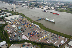 © Licensed to London News Pictures. 26/04/2016. Dartford, UK. Purfleet Thames Terminal, Cobelfret roll on roll off terminal. C.RO Ports Dartford Ltd, Clipper Boulevard, Crossways, Dartford. Photo credit: Martin Apps/LNP