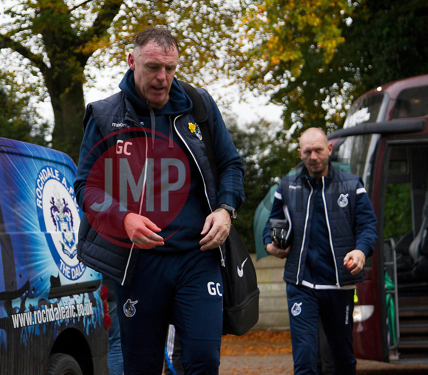 Bristol Rovers manager Graham Coughlan as players and staff arive at the stadium - Mandatory by-line: Jack Phillips/JMP - 02/11/2019 - FOOTBALL - Crown Oil Arena - Rochdale, England - Rochdale v Bristol Rovers - English Football League One