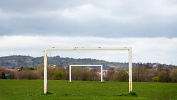 Football pitch goalposts at Hailes Quarry Park, Wester Hailes, Edinburgh, Scotland, UK