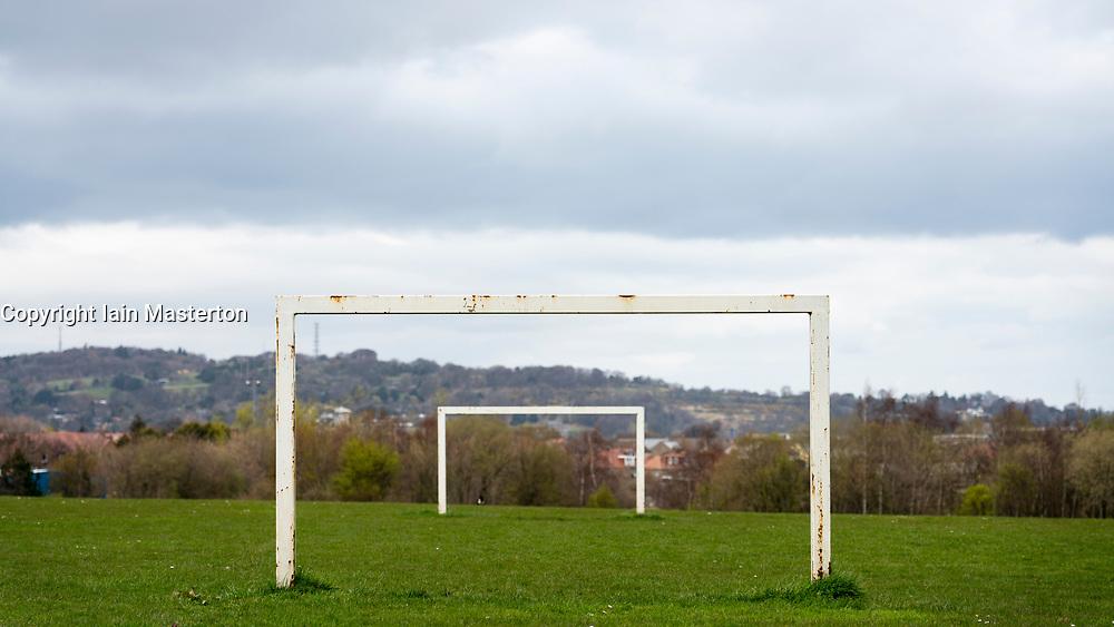 Football pitch goalposts at Hailes Quarry Park, Wester Hailes, Edinburgh, Scotland, UK