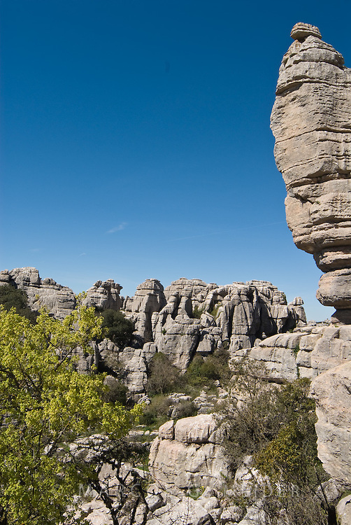 Karstic rock formation from Jurassic era. Torcal de Antequera Natural Park.  Malaga province, Andalucia, Spain.