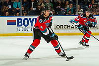 KELOWNA, BC - OCTOBER 12: Devin Steffler #4 of the Kelowna Rockets skates with the puck against the Kamloops Blazers at Prospera Place on October 12, 2019 in Kelowna, Canada. (Photo by Marissa Baecker/Shoot the Breeze)