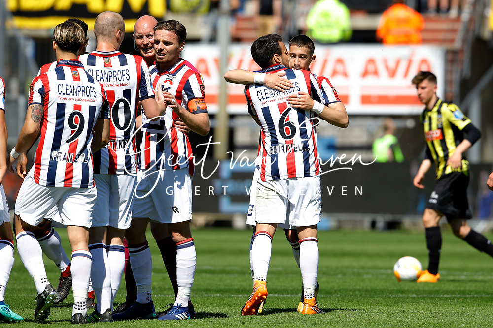 *Konstantinos Tsimikas* of Willem II celebrates 1-0 with *Pedro Chirivella* of Willem II