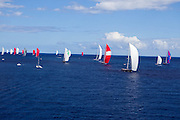 Highland Breeze, White Wings, P2, Axia, and Salperton sailing in the 2010 St. Barth's Bucket superyacht regatta, race 3.