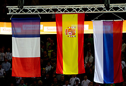 Flags of France, Spain and Russia at medal ceremony after the final basketball game between National basketball teams of Spain and France at FIBA Europe Eurobasket Lithuania 2011, on September 18, 2011, in Arena Zalgirio, Kaunas, Lithuania. Spain defeated France 98-85 and became European Champion 2011, France placed second and Russia third. (Photo by Vid Ponikvar / Sportida)