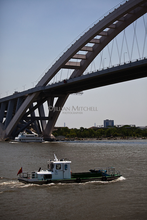 Lupu bridge in Shanghai crosses the Huangpu River near the 2010 World Expo site.