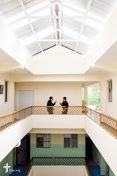 Seminarians Marcelo Rivas and Rudy Carbajal chat following class at the newly built Concordia Reformer Lutheran Seminary and Mercy Center in Palmar Arriba, Dominican Republic, on Wednesday, Oct. 18, 2017. LCMS Communications/Erik M. Lunsford
